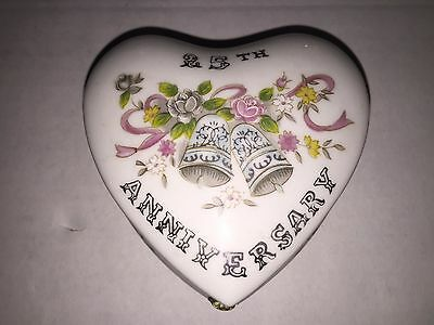 Vintage 25th Anniversary Lefton Heart Shaped Ceramic Trinket Box made in Japan
