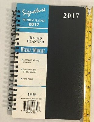 2017 Weekly Monthly Dated Day Planner Calendar Signature Premium 5X8 Black