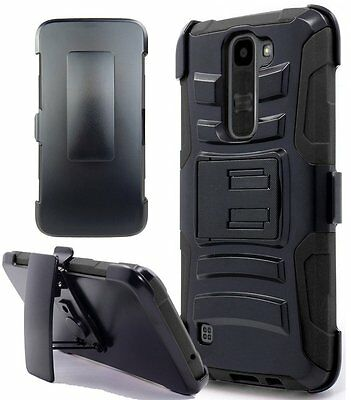 LG K8V Belt Clip Holster Combo Swivel Cell Phone Case With Kick Stand Cover