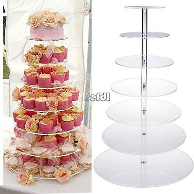 7 Tier Round Acrylic Cup Cake Stand Tower Wedding Baby Shower Decor