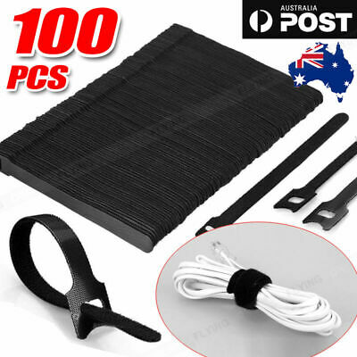 100pcs Reusable Cable Tie Nylon Hook Loop Strap Cord Ties PC TV Organiser AU