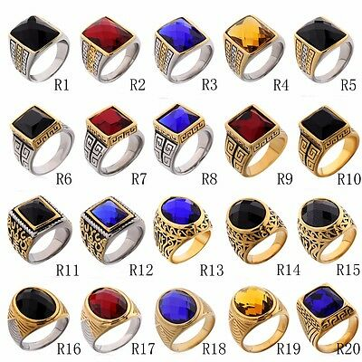 Fashion Stainless Steel Men's Class Solitaire Rings Gemstone Jewelry Size 8-12