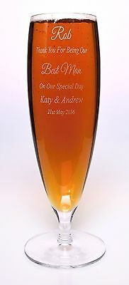 Engraved WEDDING Stemmed Beer Glass Gift For Best Man/Usher/Groomsman/Groom
