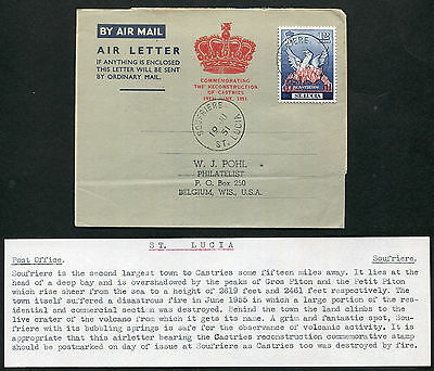 ST. LUCIA: (13080) volcano/SOUFRIERE cancel/Air Letter