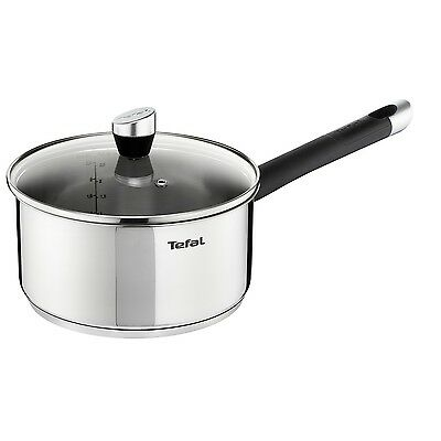 Tefal Emotion 20Cm Stainless Steel Saucepan With Clear Glass Lid Sauce Pan Pot