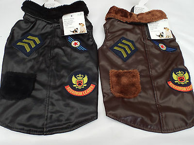 Small DOG Pet Aviator Squadron Leader Style Jacket Coat Brown or Black
