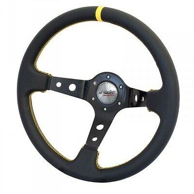 Volante sportivo Tuning calice 6cm Eco-Pelle nera 350mm cuciture gialle