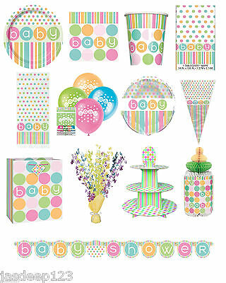Baby Shower Neutral Polka Dots Party Supplies Tableware Decorations Unisex