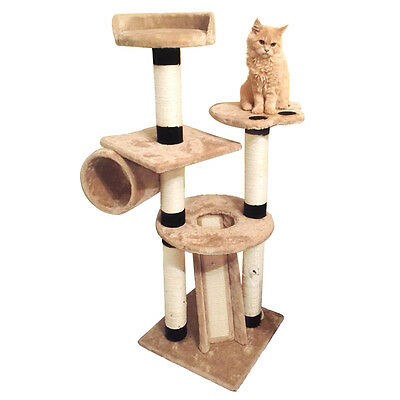 Charles Bentley Beige Cat Tree Activity Centre Sisal Scratching Post 128x45x45