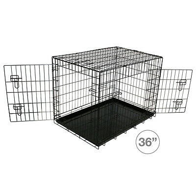 Charles Bentley Training Dog Cage 36-Inch Metal Folding 2 Doors Crate Travel Vet