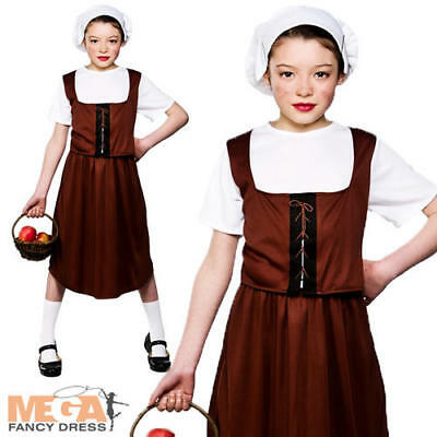 Tudor Peasant Girl Fancy Dress Medieval Childrens Kids Child Costume Outfit 3-10