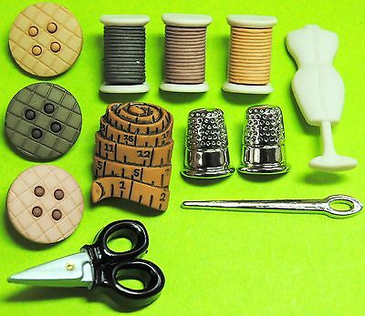 SEWING ROOM - Needle Thimble Tape Measure Scissors Mannequin Dress It Up Buttons