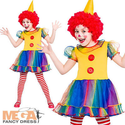 Cute Little Clown Girls Fancy Dress Funny Circus Kids Childs Costume Outfit 3-10