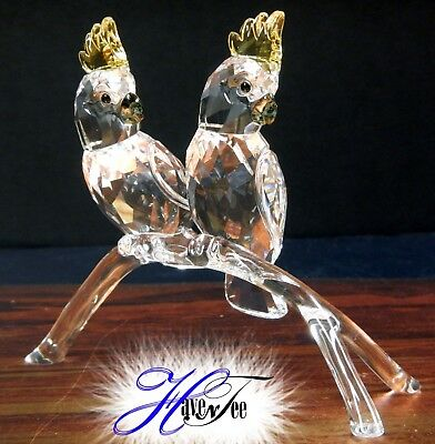 Cockatoos - Birds On Tree Branch 2016 Swarovski Crystal #5135939