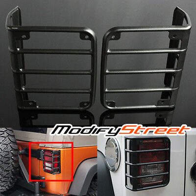 For 07-15 Jeep Wrangler Jk Black Steel Eal Tail Lights Guards Covers Protectors