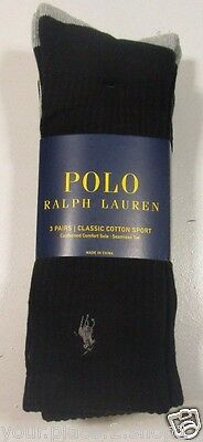 Polo Ralph Lauren Men's Classic Cotton Sport Black & Gray Socks, Pack of 3