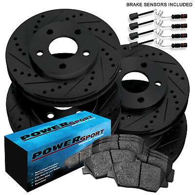 [FULL KIT]PowerSport Black Drilled Slotted Rotors and Ceramic Pads BBCC.35116.02