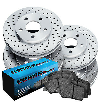 Fit Lexus, Toyota ES300, Camry Front Rear  Drilled Brake Rotors+Ceramic Pads