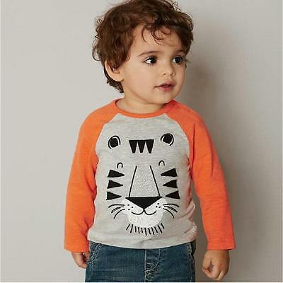 Cute Baby Boys Lion Print Soft Cotton T-shirt Long Sleeve Pullover Shirt Top Lot
