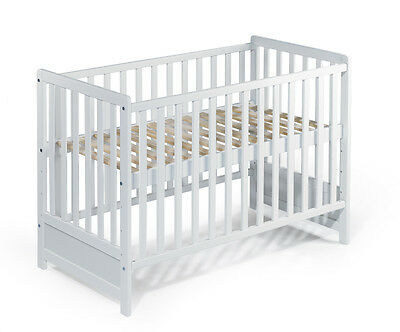 B-Stock Baby Bed Cot full solid BEECH MAYA 120x60 white