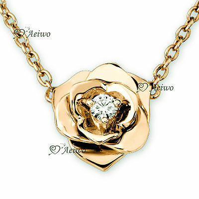 18K Yellow Gold Gf Made With Swarovski Crystal Pendant Rose Flower Necklace