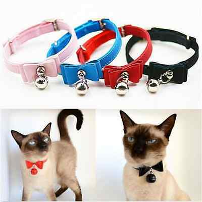 Adjustable Soft Pet Cat Kitten Puppy Collar Safety Buckle Neck Strap With Bell F