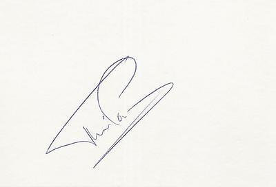 A 14 cm x 9 cm white card. Personally signed by footballer Flemming Povlsen.