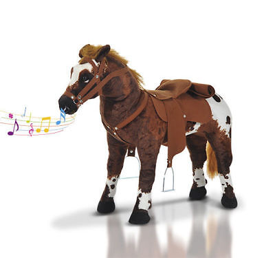 Qaba Children Cowboy Standing Plush Horse Soft Ride On Toy Cuddly Pony w/ Sound