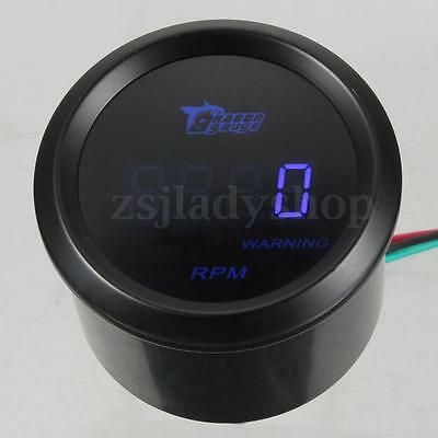"2"" 52mm Blue Digital LED 0-9999 RPM Tachometer Tacho Gauge Meter Car Auto Motor"
