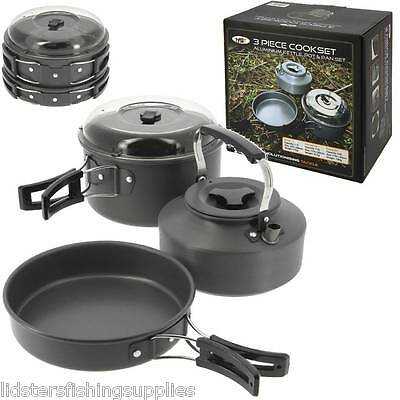NGT 3 Peice Cook Set Carp Fishing Cooking Set Kettle Frying Pan Pot With Lid