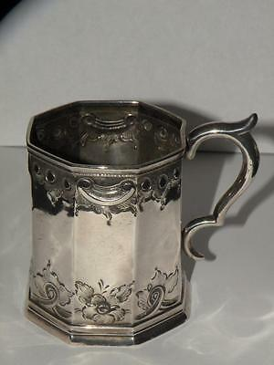 Antique Coin Silver Baby Chil's Cup Paneled Repousse