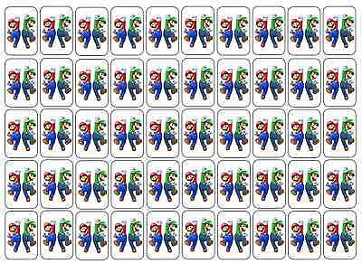 "50 Super Mario and Luigi Envelope Seals / Labels / Stickers, 1"" by 1.5"""