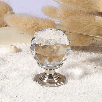 10 x 35mm Shiny Silver Crystal Glass Door Knobs Drawer Cabinet Kitchen Handle