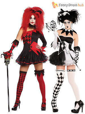 Ladies Harlequin Costume Tricksterina Jester Clown Costume Halloween Fancy Dress