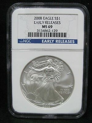 2008 1 oz. Silver Eagle NGC MS69 - Early Releases