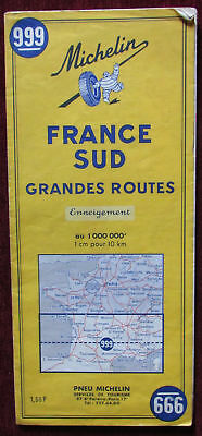1967 Original Road Map Michelin France Sud Grandes Routes South Travel Europe