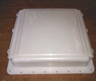 """14"""" X 14"""" Stationary Exterior Rv Roof Vent Fan Cover Opaque White Hengs Elixir"""