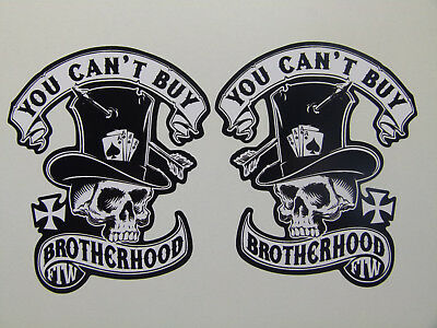 Oldschool Aufkleber Paar Brotherhood retro Sticker Biker 1% Skull Rockabilly V2