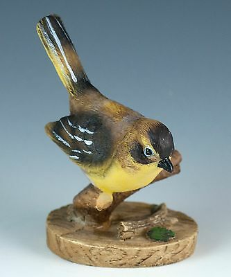 Resin Yellow Goldfinch Type Bird Figurine 3.25 Inch