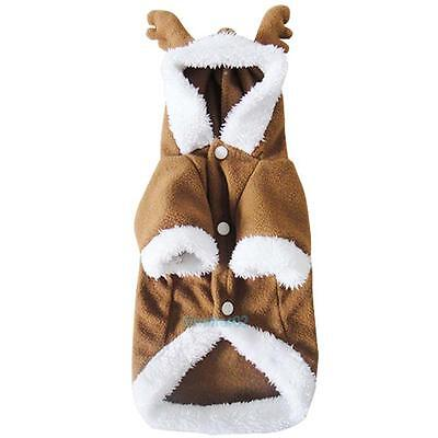 Pet Dog Puppy Christmas Lovely Deer Sweater Hoodie Jumpsuit Coat Clothes Outwear