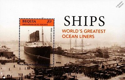World's Greatest Ocean Liners RMS LUSITANIA Ship Stamp Sheet (2013 Bequia)