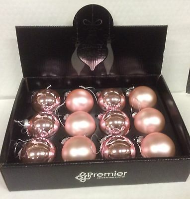 Pack 12 Pink 60mm Traditional Real Glass Baubles Christmas Decorations