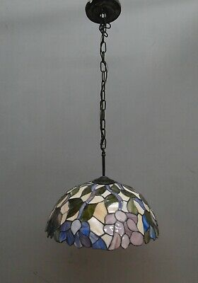 hanging stained glass flower lamp, circa 1970, real vintage lamp