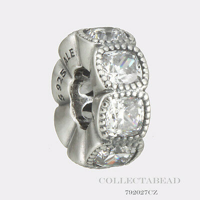Authentic Pandora Sterling Silver Clear CZ Alluring Cushion Bead 792027CZ