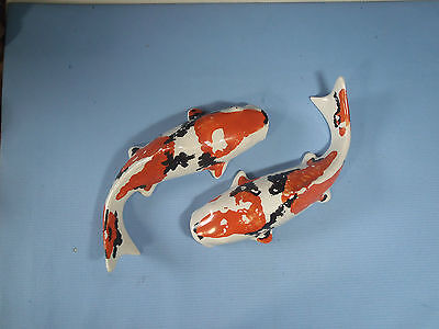 Ceramic koi carps pair hand painted for pond decor never pre owned c