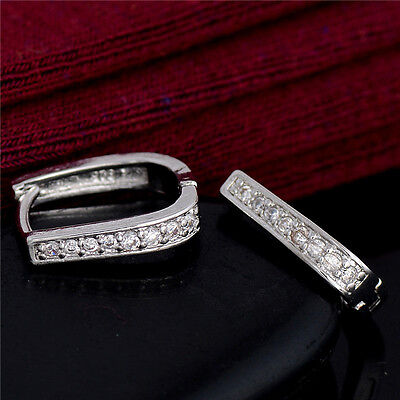 Hot Sale 925 Silver Plated Cubic Zirconia Crystal Fashion Charm Hoop Earrings