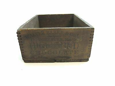 Antique Early 1900's Walter Baker & Co Premium No 1 Chocolate Wooden Box
