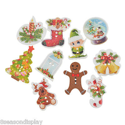 50PCs Mixed Christmas Wood Button Two Holes Scrapbooking Crafts