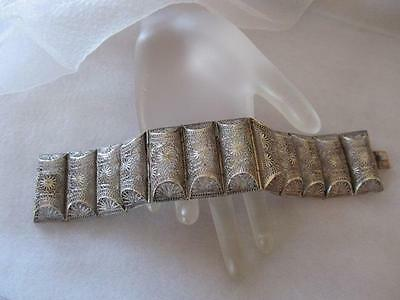 Vintage Antique Chinese Filigree Twelve Panel Silver Bracelet