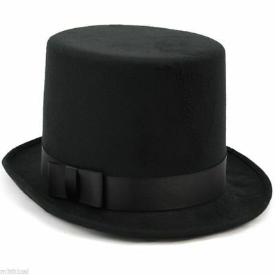 Mens Tuxedo Victorian Steampunk Black Costume Top Hat Deluxe Felt High Crown Hat